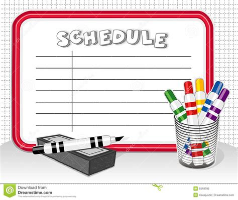 schedule clipart free white board schedule markers eraser stock vector