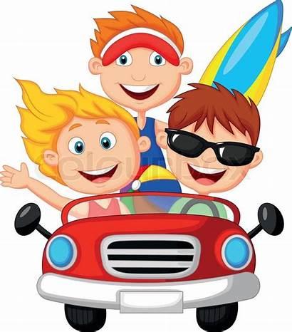 Cartoon Vector Young Trip Driving Fun Road