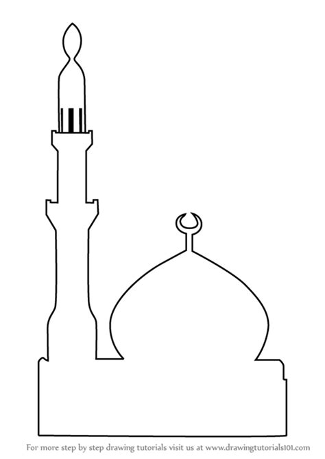 Moskee Kleurplaat by Mosque Outline Related Keywords Sketch Coloring Page