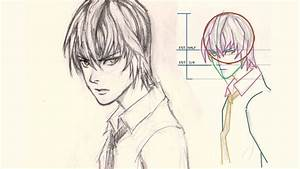 How to draw face Light Yagami from Death Note - YouTube