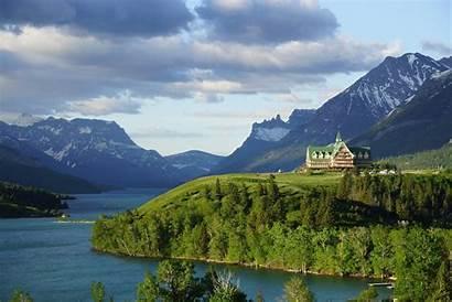 Hotel Nature Desktop Canada Waterton Landscape Mountains