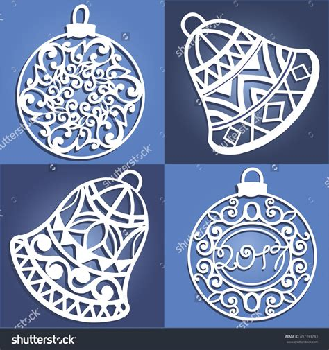 set  openwork christmas decorations laser cut paper