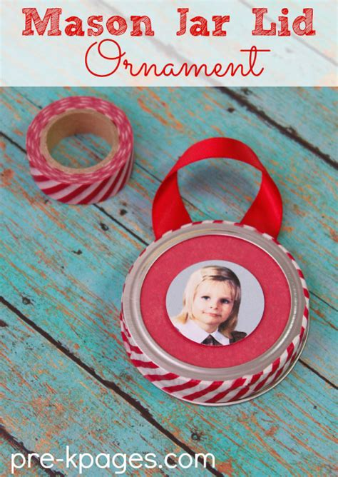 christmas ornament project for pre k jar lid ornament