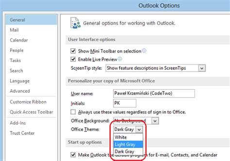 change outlook color changing background colors in outlook 2007 2010 2013 2016