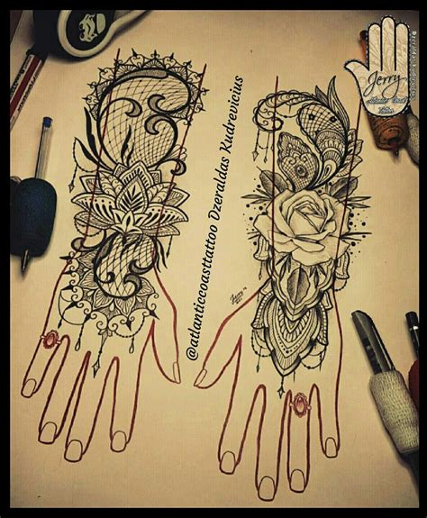 lovely hand tattoo idea rose tattoo lotus tattoo