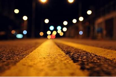Night Wallpapers 4k Road Bokeh Asphalt Close