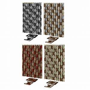 Modern dots 15 pieces shower curtain contour bath mat w for Bathroom shower curtain and rug set