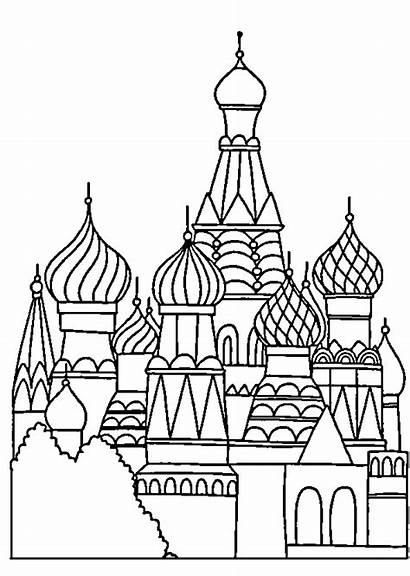 Palace Drawing Coloring Pages Russe Noel Drawings