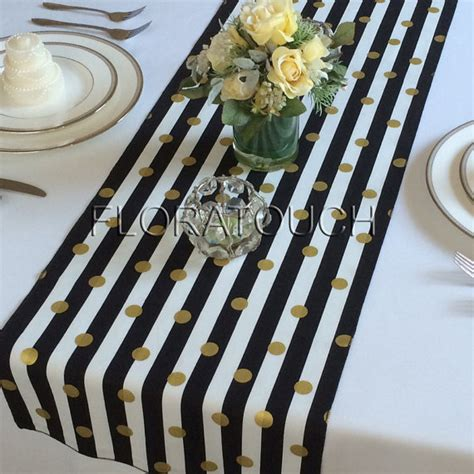 black and white table runners white and black striped with gold dots table runner wedding