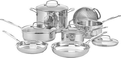 cuisinart   chefs classic stainless  piece cookware set silver  cookware sets