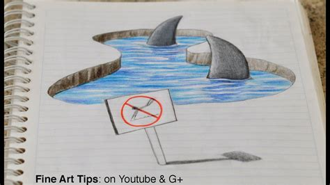 Drawing 3d Sharks On My Notebook!
