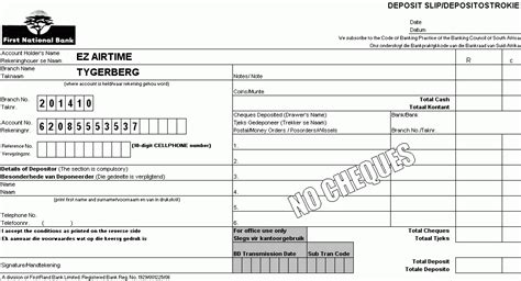 deposit slips examples template business