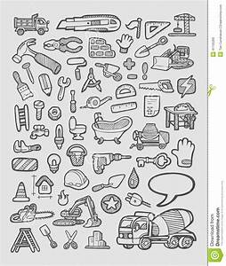 Construction Icons Sketch Stock Vector  Illustration Of Drawing