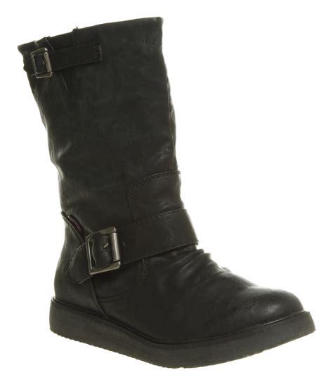 womens biker boots women 39 s blowfish earl black buckle biker boots ebay