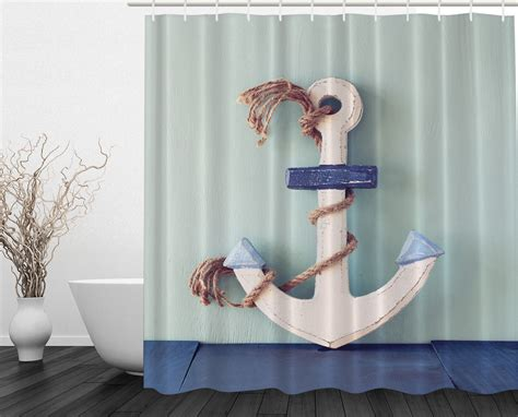 Rusty Anchor And Rope Nautical Coastal Decor Fabric Shower
