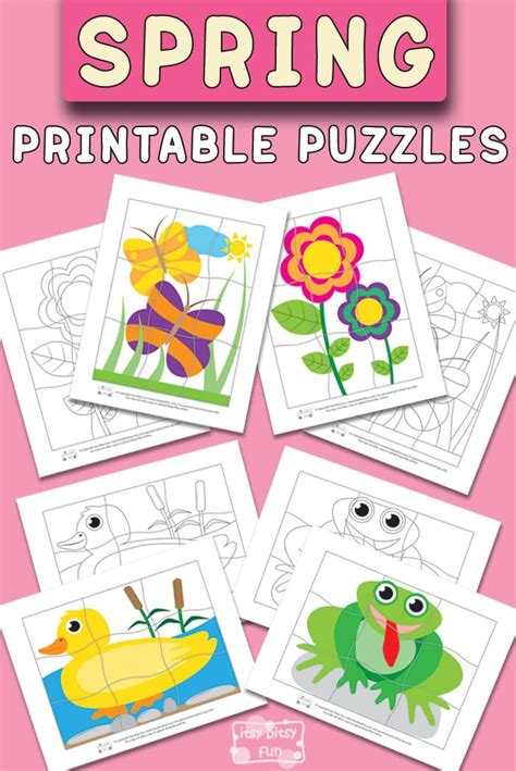 spring printable puzzles  kids itsy bitsy fun