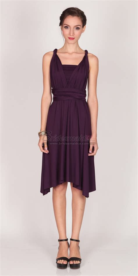 satin chiffon grape knee length halter bridesmaid dress bd