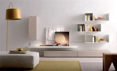 Clean White Living Room Idea With Creative Wall Mounted Shelves Plus Paired With Beautiful Wall