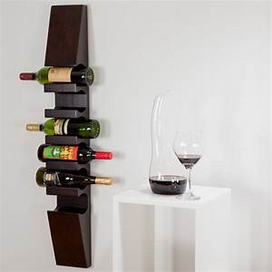 Furniture: Cool Dark Teak Wood Wall Mounted Wine Rack ...