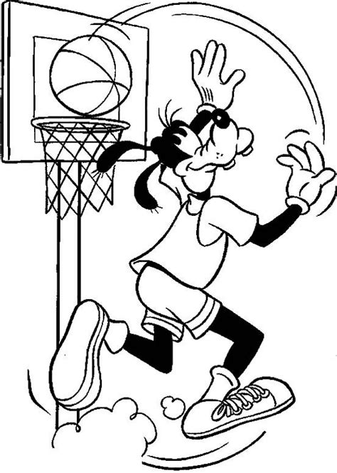Basketball Coloring Pages Goofy Palying Basketball Coloringstar