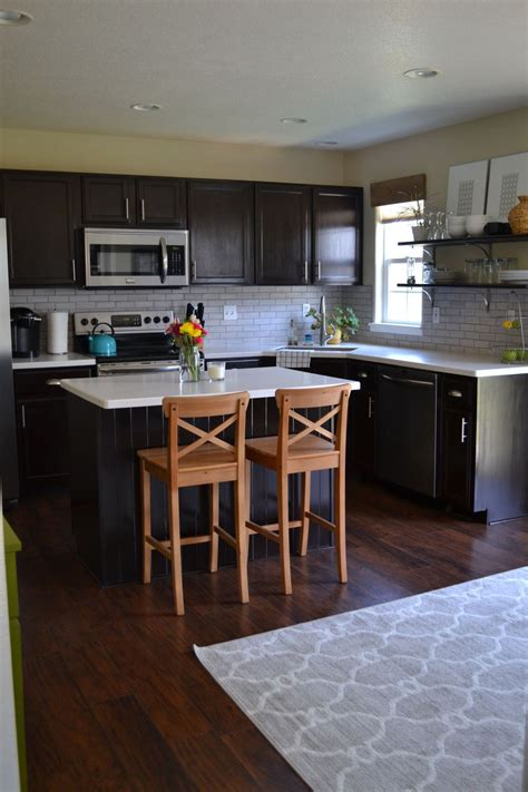 hometalk kitchen reveal dark cabinets light counters