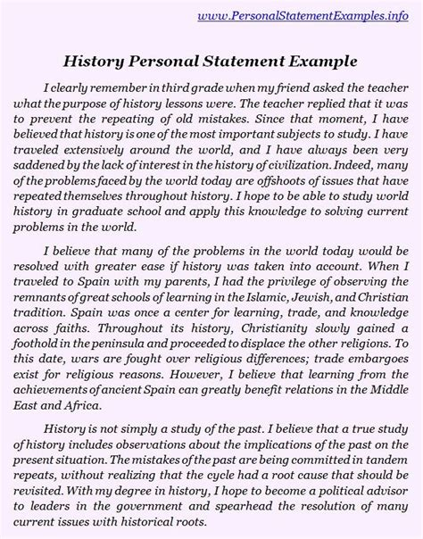 history personal statement examples httpwww