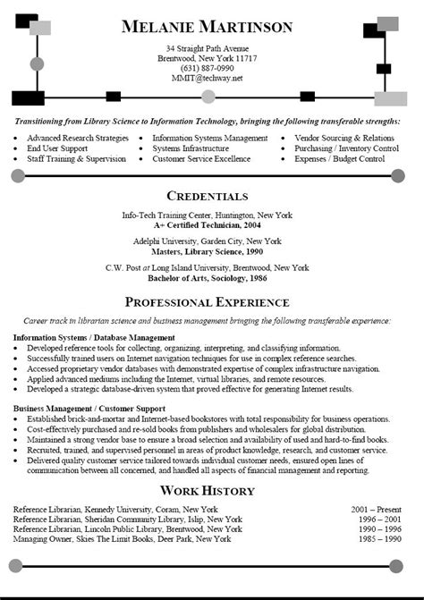 Career Objectives In Resume For Information Technology by Career Change Resume Sle Librarian Resume Transitioning Career To Information Technology