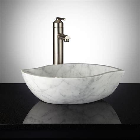 Homebathroomoval Chiseled Marble Vessel Sink Bathroom Ideas