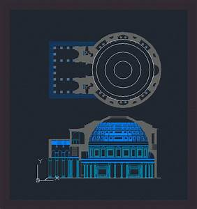Pantheon Rome In Autocad