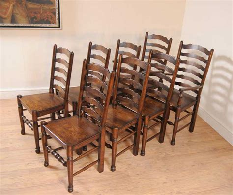 Set 8 Oak Ladderback Chairs Kitchen Dining Chair Farmhouse