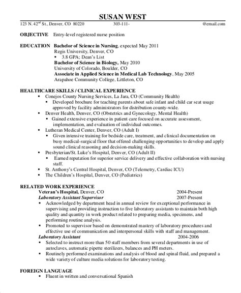 Resume Registered by Sle Registered Resume 9 Exles In Word Pdf