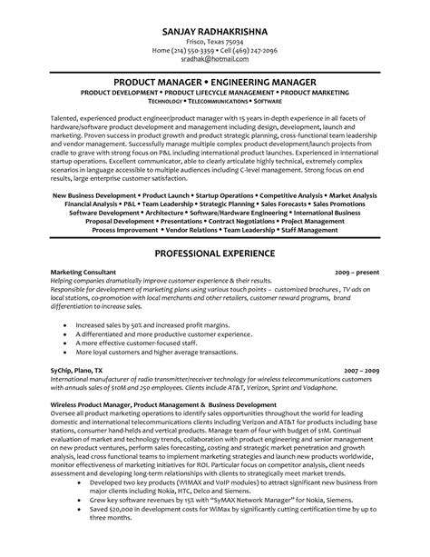 Product Development Manager Resume Exles by Product Manager Resume Objective Project Skills For Software Engineering Software Development