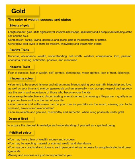 meaning of the color gold this image lists the common emotions values