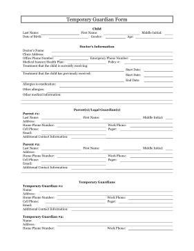 printable temporary guardianship form legal pleading template