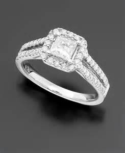 engagement ring princess cut 1 1 3 ct t w and 14k white - Engagement Rings Macys