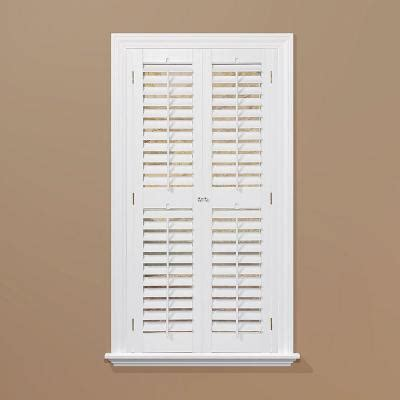 interior shutters home depot homebasics plantation faux wood white interior shutter price varies by size qspa3572 the