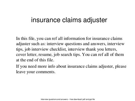 claims adjuster cover letters insurance claims adjuster