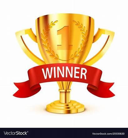 Winner Ribbon Golden Trophy Vector Realistic Winners