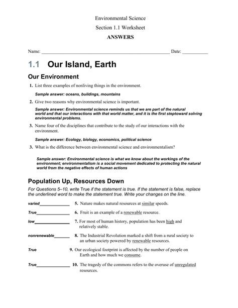 environmental science worksheets and answers