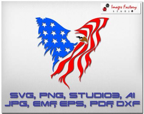 This listing is for a digital download that contains a zipped folder that includes a svg for cricut, dxf for silhouette, png for clip art, jpg for printables, and a eps file. Eagle USA Flag svg cuttable Cricut Design Space Silhouette