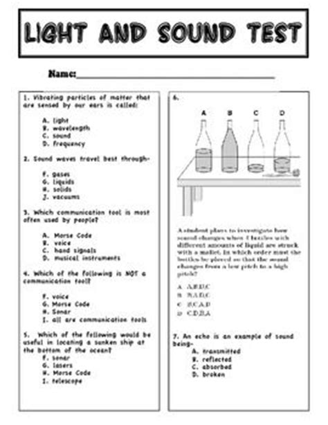 13 Best Images Of Light And Sound Worksheets 3rd Grade  Sound And Light Worksheets 4th Grade