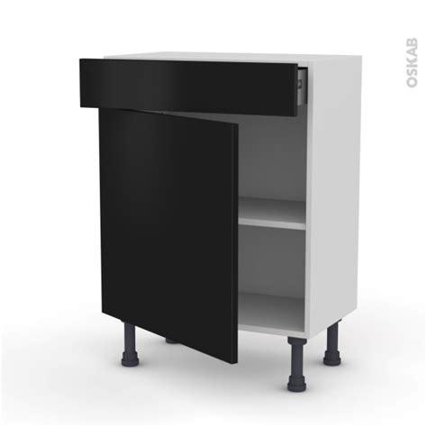 prof de cuisine meuble bas prof 37 1 porte 1 tiroir l60xh70xp37 ginko noir