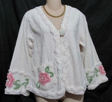stan herman chenille bed jacket robe womens s ivory floral