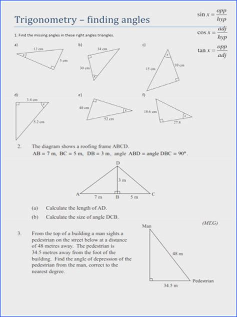 trigonometric ratios worksheet answers mychaume