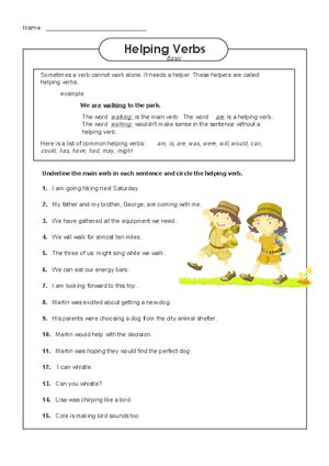 helping verbs 4th grade helping verbs worksheet