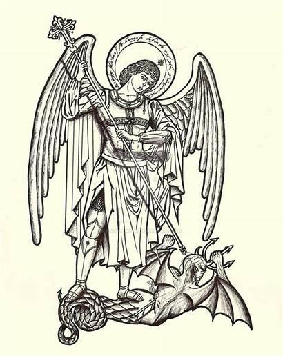 Archangel Michael St Catholic Drawing Lineart Angels