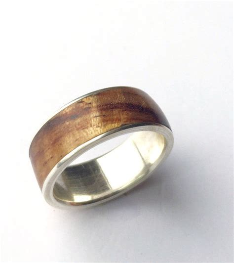 mens ring wood ring sterling silver ring mens wood ring