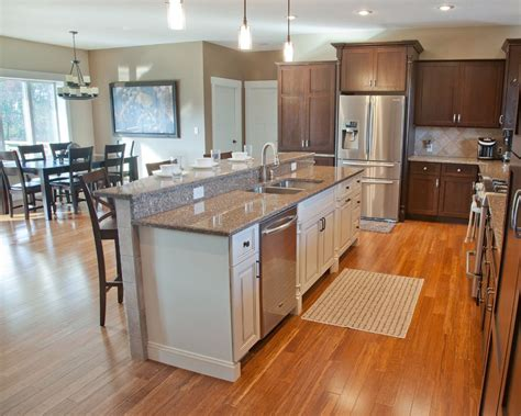 open kitchens with islands open concept kitchen with hickory stained perimeter 3742