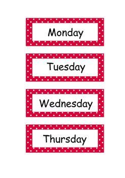 days   week flashcards  glitter