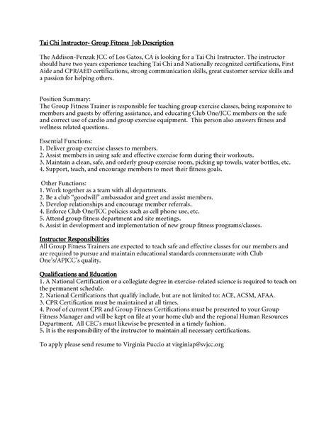 fitness instructor job descriptions charlotte clergy